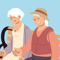 feliz dia dos avós, casal de idosos sentado ao ar livre vetor