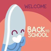 faixa de volta às aulas, modelo colorido de boas-vindas à escola, borracha vetor