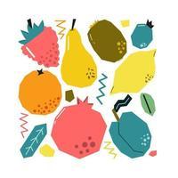conjunto de frutas e bagas de mão desenhada. recortado do desenho de papel. ilustração plana. vetor