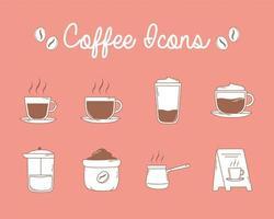 café francês café copo e ícones de tabuleiro em linha marrom vetor