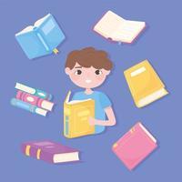 menino leu seu livro favorito, educação e escola, estudo e literatura vetor
