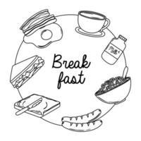 comida de café da manhã ovo frito fresco bacon leite xícara de café salsicha sanduíche estilo de linha vetor