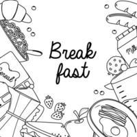 café da manhã ovo frito bacon croissant maçã biscoito cereal alimentos frescos e bebidas estilo de linha vetor