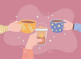 mãos de pessoas com xícara de café, bebida fresca fria e quente vetor