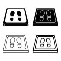 ícones simples de esteiras de higienização. antibacteriano equipado em estilo plano. Tapete de desinfecção para calçado. conjunto de esteiras desinfetantes. vetor