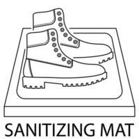 tapete de desinfecção. desinfecção de calçados. antibacteriano equipado em estilo plano. Tapete de desinfecção para calçado. tapete desinfetante. superfície estéril. ilustração vetorial vetor