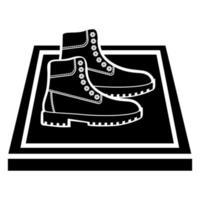 esteiras de desinfecção no glifo. tapete desinfetante. antibacteriano equipado em estilo plano. Tapete de desinfecção para calçado. desinfecção de calçados. superfície estéril. vetor