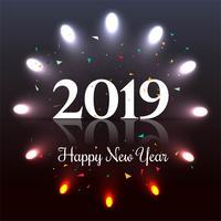 Linda feliz ano novo 2019 texto festival fundo vetor