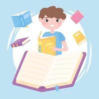 menino com livro aberto, livro com marcador de literatura aprender conceito vetor