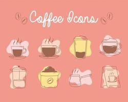 café francês prensar xícaras e ícones de tabuleiro linha e preenchimento vetor