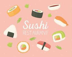 restaurante de sushi comida japonesa frutos do mar tradicionais vetor