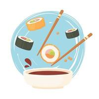 Pauzinho de sushi com rolinho em molho de soja e nigiri, comida de sashimi vetor