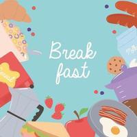 café da manhã ovo frito, bacon, croissant, maçã, biscoito, cereal, alimentos e bebidas frescos vetor