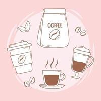 pacote de café copo descartável e frapê na linha marrom vetor