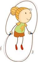 um doodle criança pulando corda personagem de desenho animado isolado vetor