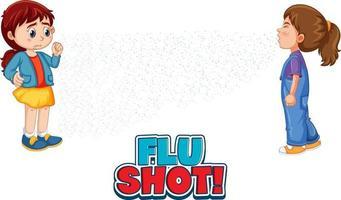obter fonte vacinada em estilo cartoon com uma garota olhando para a amiga espirrando isolado no fundo branco vetor