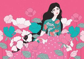 Menina com flores vector