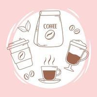 copo descartável de embalagem de café e linha de frappe e preenchimento vetor