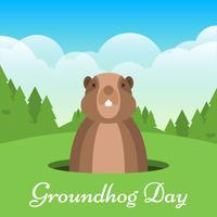 Dia da Marmota cartão com fundo de natureza vetor