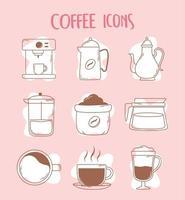 cafeteira expresso xícara de café expresso francês bule e ícones da xícara linha e preenchimento vetor