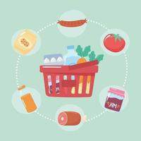 mercado de produtos completos de cesta de plástico, compras de supermercado vetor