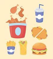 fast food, sanduíches de frango, batata frita, hambúrguer e refrigerante vetor