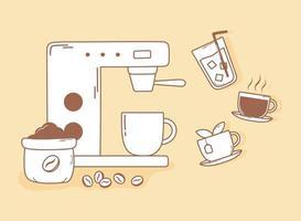 máquina de café expresso grãos chá e xícara na linha marrom vetor