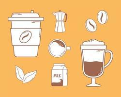 xícara descartável de café frappe moka ícones de pote e dourada em linha marrom vetor