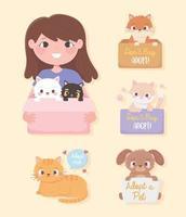 adotar um animal de estimação, menina com gatos na caixa e animaizinhos com inscrições vetor