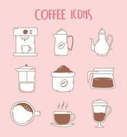 cafeteira expresso xícara de café expresso francês bule e ícones de xícara em linha marrom vetor