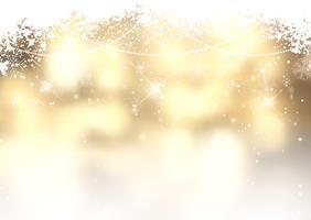Fundo de Natal dourado com flocos de neve