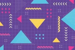forma de memphis com fundo de grade abstrato geométrico do estilo dos anos 80 vetor