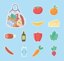 supermercado compras ícones adesivos tomate laranja pimenta cenoura vetor