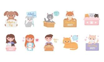 adotar um animal de estimação, conjunto de ícones de pessoas com desenhos animados de cães e gatos vetor
