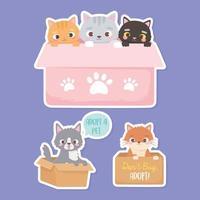 adotar um animal de estimação, adesivos de gatos e cachorros nas caixas de papelão vetor