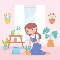 jardinagem doméstica, menina na sala com plantas crescendo em vasos vetor