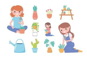 jardinagem doméstica, plantas domésticas femininas crescendo em vasos ícones de regador vetor