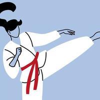 lutadora de karatê em quimono, arte marcial tradicional do Japão vetor