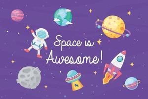 planeta astronauta nave espacial e espaço ufo é incrível no estilo cartoon vetor
