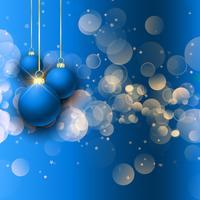 Baubles de Natal no fundo de luzes de bokeh vetor