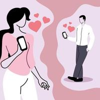 jovem casal com smartphones conversando, relacionamentos virtuais e namoro online vetor