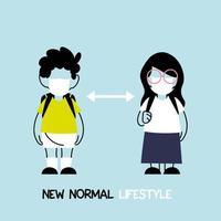 de volta às aulas para um novo conceito de estilo de vida normal, crianças usando máscara facial e distanciamento social vetor