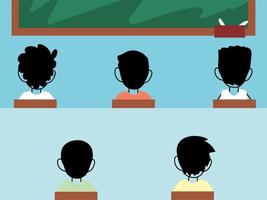 crianças estudantes usando máscara na sala de aula, distanciamento social vetor