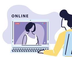 homem usando computador para reunião virtual, videoconferência, trabalho remoto, tecnologia vetor