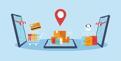 smartphones representam frente da loja, compras online, marketing digital vetor