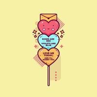 Vetor de corações de doces dos namorados