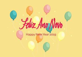 vetor de letras de mão feliz ano novo