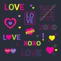 Néon Valentine Set vetor