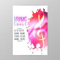 Cartaz de concerto de música, pintura splatter festa flyer modelo vector illustration
