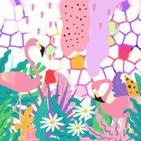 A selva tropical deixa o fundo com os flamingos. Design de cartaz de flores tropicais vetor